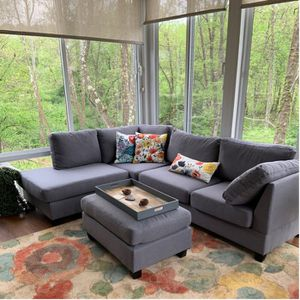 """NEW MODERN CONTEMPORARY GREY LINEN SOFA SECTIONAL WITH OTTOMAN REVERSIBLE 104""""x75"""" for Sale in North Miami Beach, FL"""
