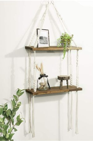 2 Tier Wood Wall Shelves with Handmade Woven Hanger for Sale in Los Angeles, CA