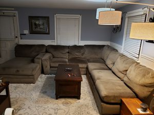 Microfiber sectional couch in seal grey for Sale in Lambertville, NJ
