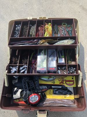 Fishing tackle box with gear for Sale in San Bernardino, CA