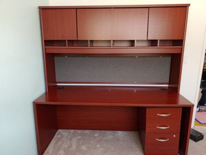 Executive size Desk with Hutch and Filing Cabinet, Bush Furniture for Sale in San Jose, CA
