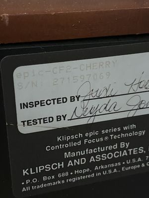 Klipsch CF-2 for Sale in Claremont, CA