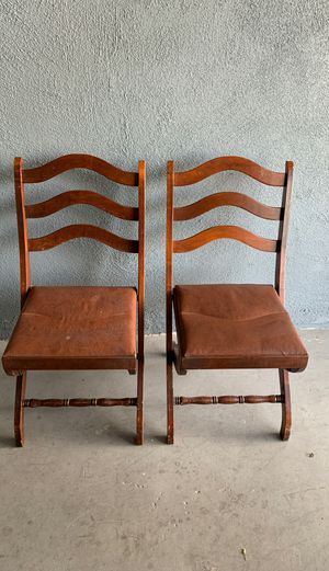 Two wooden antique folding chairs for Sale in Santa Fe Springs, CA