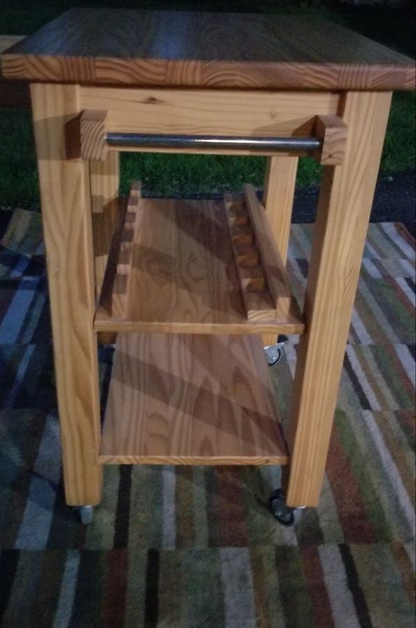Solid Wood, Made In Brazil, Rolling Three Tier Utility Cart
