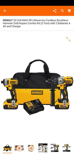 20-Volt MAX XR Lithium-Ion Cordless Brushless Hammer Drill/Impact Combo Kit (2-Tool) with 2 Batteries 4 Ah and Charger for Sale in Dumfries, VA