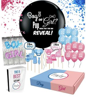 Gender Reveal Party Supplies Kit by PartyLogic| The Most Complete Decoration Kit | Gender Reveal Balloon, Photo Booth Props, Confetti and More! | 5 F for Sale in Covina, CA