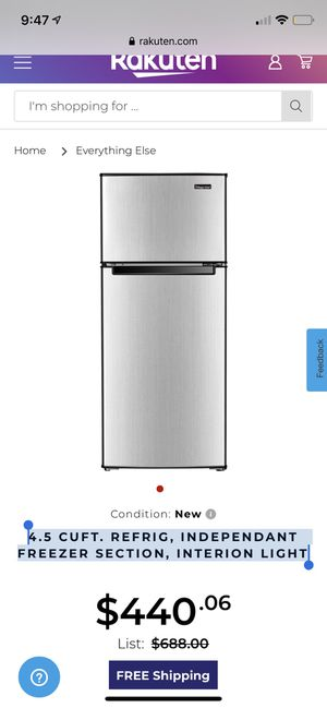 4.5 CUFT. REFRIG, INDEPENDANT FREEZER SECTION, INTERION LIGHT for Sale in Manchester, MO