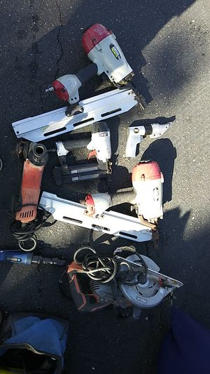 Lot of Carpender tools 3 Nail Guns, Central Pneumatic (2) Porter Cable (1) and MILWALKEE GRINDER ETC......LOOK AND SEE ovwr$ 1500.00 bucks worth for Sale in San Diego, CA