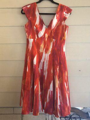 Calvin Klein Red Orange White Dress Size: 6 for Sale in Burbank, IL