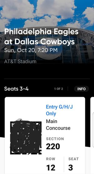 Cowboys vs Eagles oct 20th SNF for Sale in Saginaw, TX