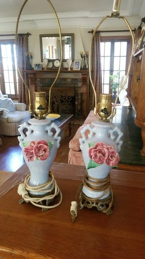 Antique side table lamps with roses for Sale in Los Angeles, CA