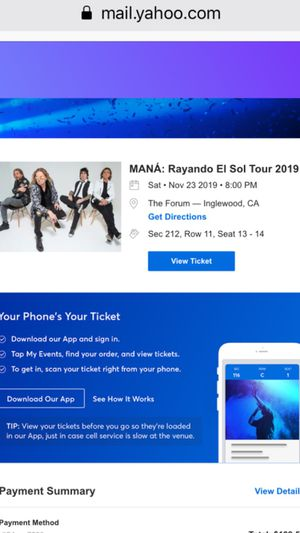 Mana live at The Forum Los Angeles November 23 for Sale in Los Angeles, CA