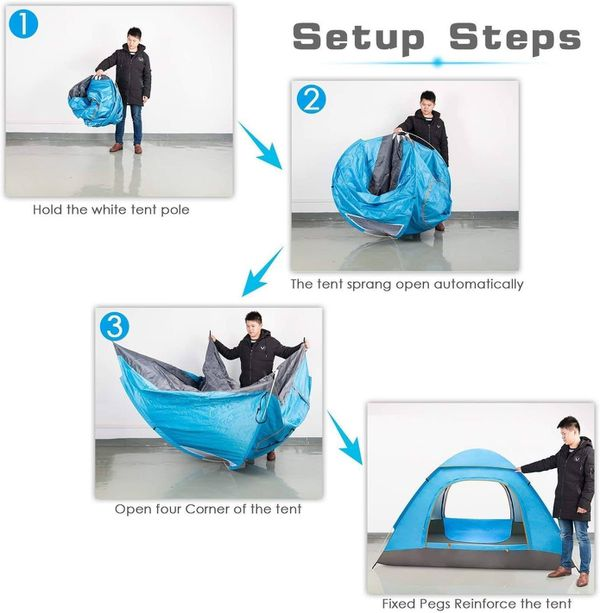 Ezone Waterproof Instant Pop Up Tent 3-4 Person Camping Tent, Instant Set Up, Outdoor Hiking Backpacking Tent Shelter