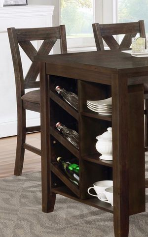 Brown counter height table set with kitchen shelves for Sale in Long Beach, CA
