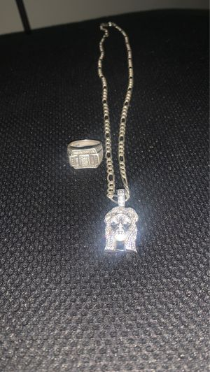 Jesus piece 925 chain and charm and ring for sale for Sale in Richmond, VA