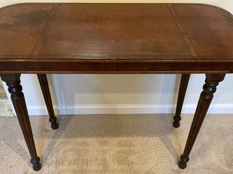 Antique Leather  & Wood Top Table for Sale in Happy Valley, OR