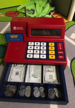 Pretend play cash register and calculator with fake coins and paper money. Perfect for teaching kids the concept of money. for Sale in New York, NY
