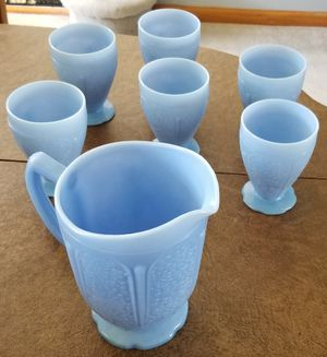 Depression Glass Pitcher and 6 Tumblers for Sale in Wayne, IL