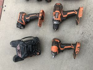 Ridge power drills set ,, 3 batteries , charger Lamp and Radio for Sale in Fullerton, CA