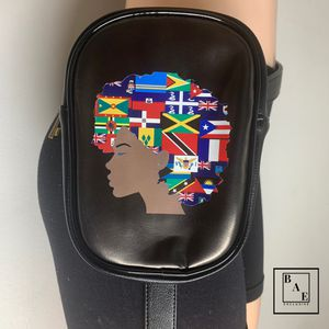 Black Caribbean Inspired Waist Bag with Adjustable and Removable Straps for Sale in Plantation, FL
