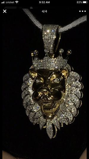 Double flat franco 10k gold chain with 14k gold plated lion 1ct. PACKAGE DEAL ONLY for Sale in Escondido, CA