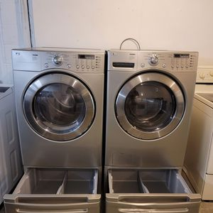 Grey Lg Front Load Washer And Dryer Electric Set On Sale for Sale in Shelbyville, IN