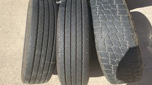 Tires (3 kinds) 2 are the same (LT245/75R17) Terra Grapler G2 spare rim from Tundra. 4th tire is a trailer tire for Sale in Kyle, TX