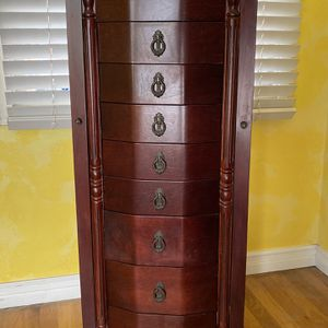 Jewelry Armoire - Cherry - Excellent Condition for Sale in Long Beach, CA