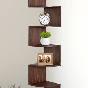 5 Tier Wall Mount Corner Shelves, Home Decor Hanging Shelves, Walnut for Sale in Corona, CA