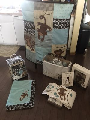 """Baby Crib bedding and decor by Lambs and Ivy """"giggles"""" for Sale in Columbus, OH"""
