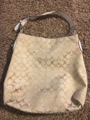 Coach cream signature LARGE canvas and leather Hobo shoulder purse bag for Sale in Leander, TX