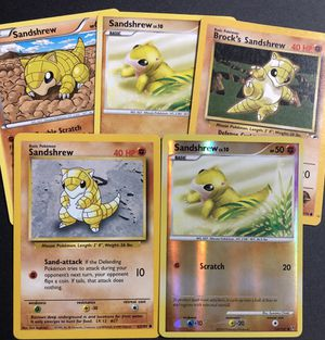 Sandshrew HOLO 2 Base set 5 Pokemon Card Lot for Sale in Malden, MA