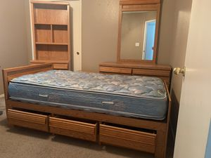Twin bedroom set (Bed with storage, mattress, dresser and mirror, lamp table, and book shelf) for Sale in Shafter, CA