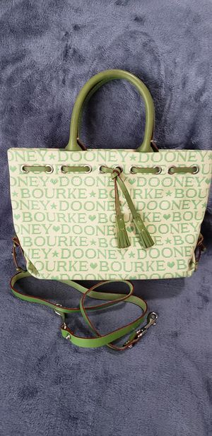 Dooney & Burke Small Tulip & Tassel Tote Green on Yellow for Sale in Houston, TX