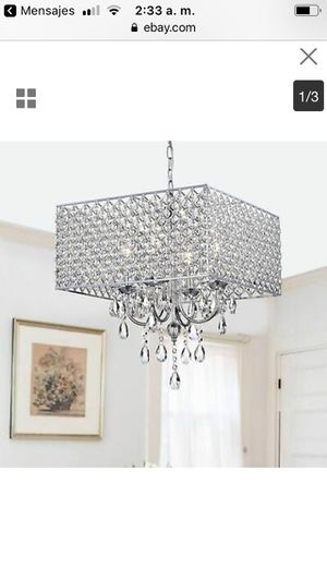 Chrome/ Crystal 4-light Square Chandelier White $100 firm for Sale in Hayward, CA