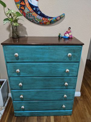 Rustic eclectic turquoise bohemian hand-painted dresser for Sale in Santa Ana, CA