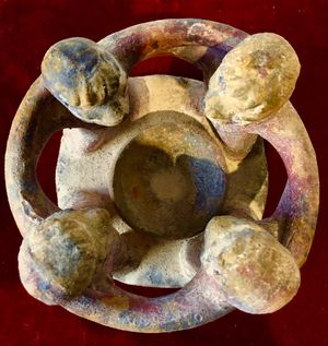 Hand made pottery art Circle of Four Friends candle holder H5xW5 inch for Sale in Chandler, AZ