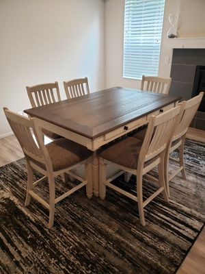 7 piece Birch/oak finished dinning Table and Chairs for Sale in Graham, WA