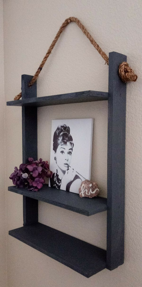 """24""""H X 17""""W X 5-1/2""""D 🍁3 Tier Wood Hanging Rope Shelf ::: Rustic Graphic Charcoal"""