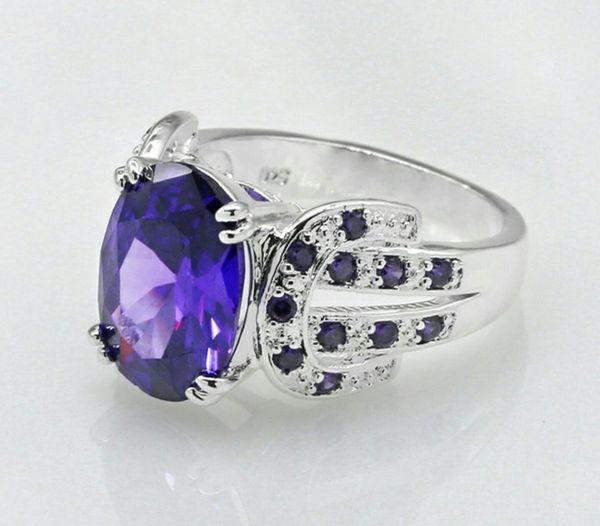 925 Sterling Silver Black Sapphire & White Topaz Ring