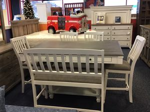 New White & Grey Table w/ 4 Chairs & Bench for Sale in Virginia Beach, VA