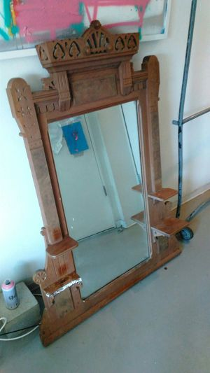 Solid wood Antique Hanging Mirror/Shelf for Sale in Los Angeles, CA