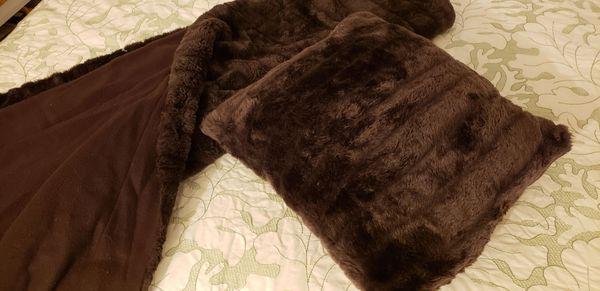 Rich Chocolate Brown Faux Fur Blanket & Pillow