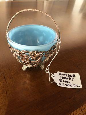 Unique Antique Cherry Bowl - Silver and Glass for Sale in Montecito, CA