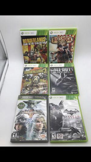 Microsoft Xbox 360 -XB360 - 6 Game Lot - Borderlands Bioshock Batman Call of Duty Black Ops Soul Calibur for Sale in Raleigh, NC