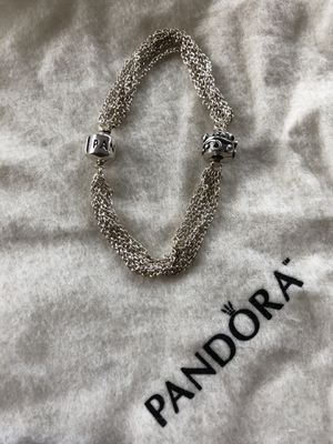PANDORA Sterling Silver Multi-strand One Clip Station Bracelet with clip/charm for Sale in Portland, OR