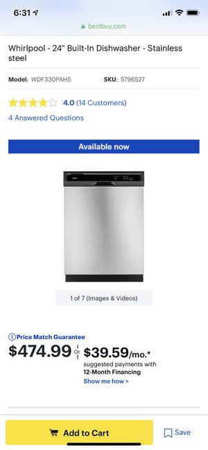"""Brand New Whirlpool 24"""" Built In Dishwasher Stainless Steel for Sale in Kent, WA"""