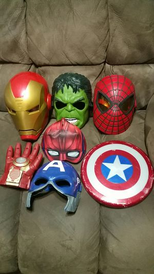 Marvel Avengers Masks Hulk Iron Mapn Spiderman Captain America for Sale in Pearland, TX