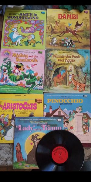 7 Mega Rare Vintage Disney Vinyl Album's With Illustrated Book for Sale in San Bernardino, CA