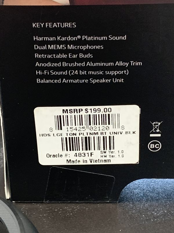 LG Tone Platinum wireless headset